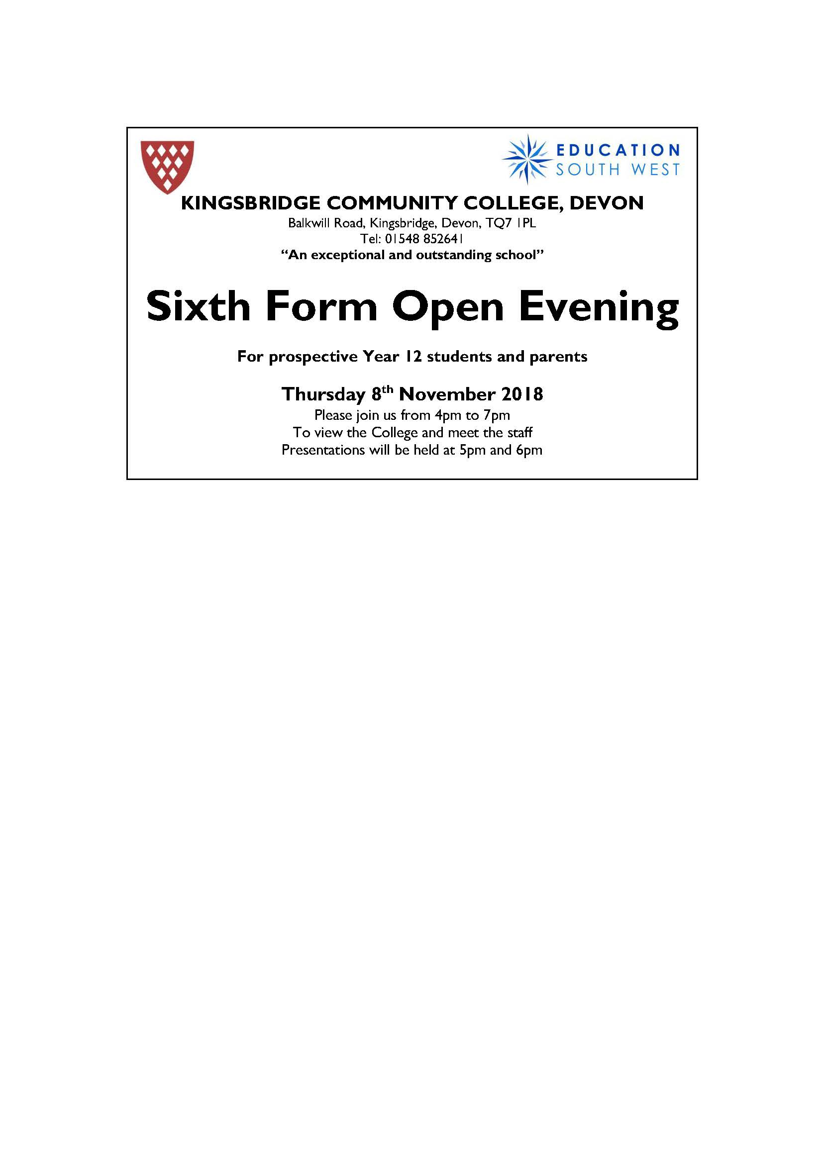 Sixth form open evening oct 2018