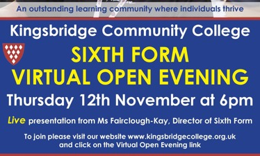 KCC Sixth Form Virtual Open Evening - Thursday 12th November at 6pm