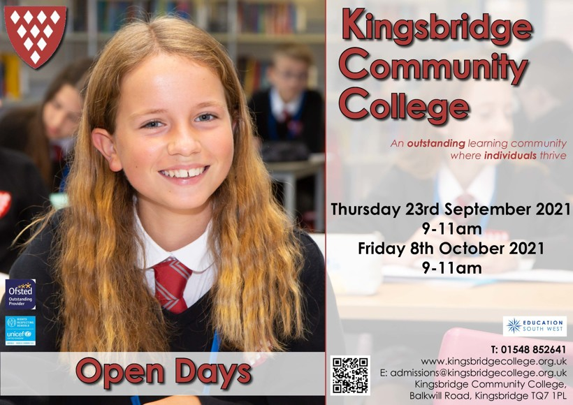 Kcc open days poster sep 2021