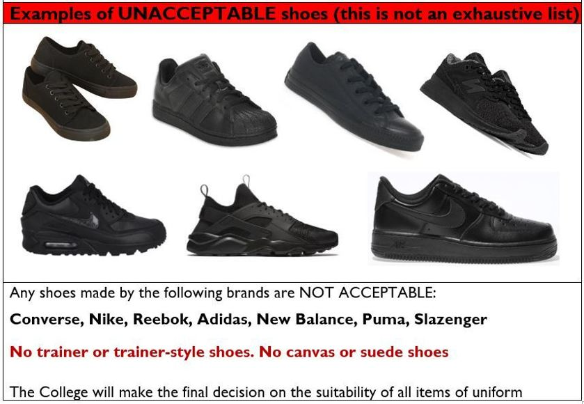 Kcc unacceptable shoes